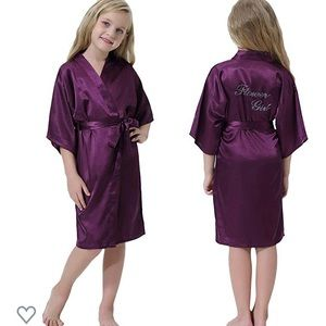 Girls satin flower girl robe